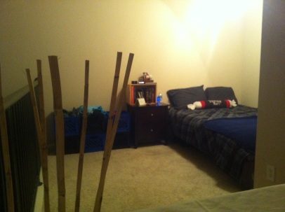 This is before he rearranged it...I know...there is actually room to shift the furniture!
