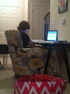 The conversation chair being used for studying! What!?