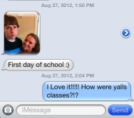 This made my day! She lined them up and snapped a shot of their first day of class!