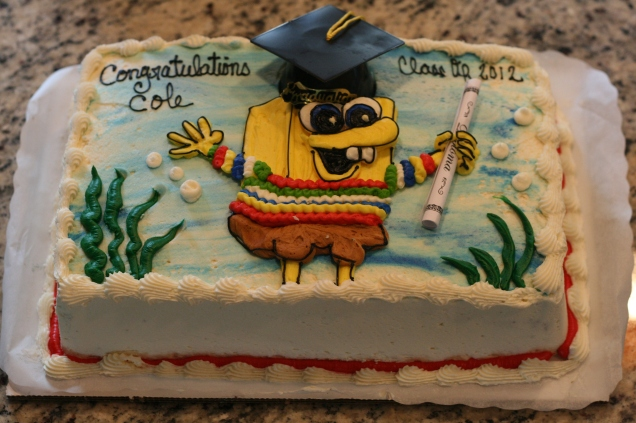 My favorite thing to order. Walked right in...said I needed a graduation cake: spongebob in a striped sweater.